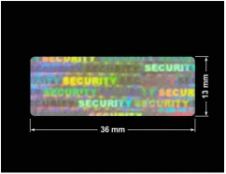 PLOMBA HOLOGRAFICZNA SECURITY VOID D-100 prostokąt 36x13mm